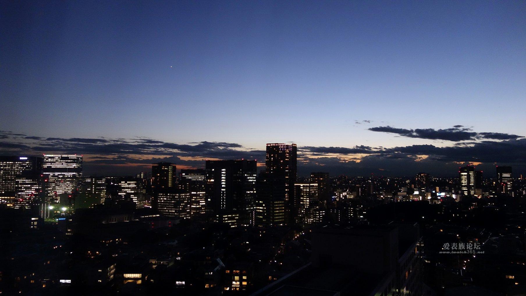 送东京品川夜景,酒店窗户拍摄