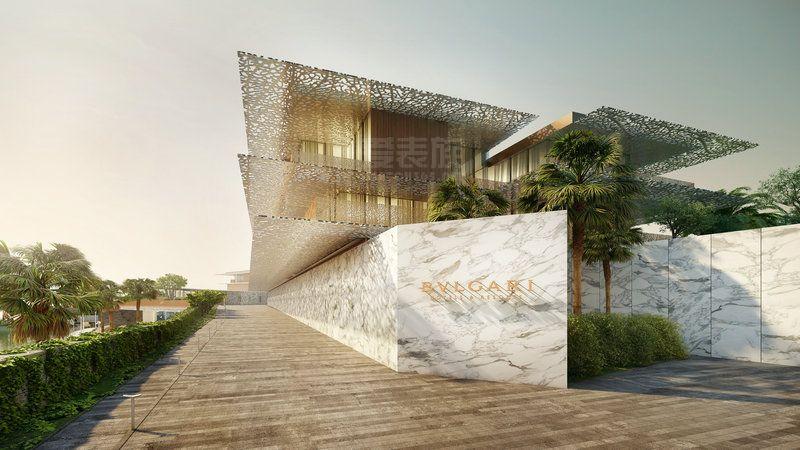 BVLGARI宝格丽酒店将坐落于迪拜卓美亚湾岛,占地总面积约达560,000平方米,将以巨型海马的外形傲立于临近卓美亚海滨大道的海岸线上。酒店亦将推出低层住宅别墅和游艇码头。 环绕以精心打造的葱郁花园,这片豪华的综合设施将会覆盖约160,000平方米的海面。BVLGARI宝格丽酒店主体建筑将会包含100间豪华房间及套房,亦会推出20间酒店别墅和全系列豪华酒店配套设施。 BVLGARI宝格丽迪拜酒店由著名意大利建筑公司Antonio Citterio Patricia Viel and Partners精心